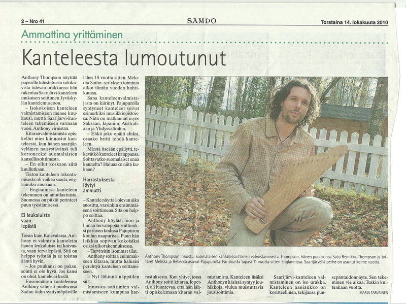 A melodia soitin ten string kantele in the local newspaper.